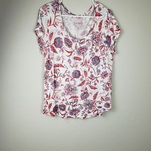 Lucky Brand Floral Short Sleeve Tee Top Size Large